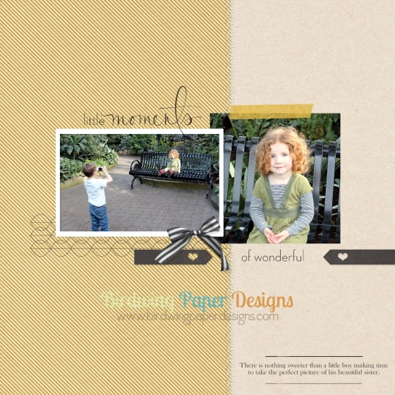 """Digital Elements from """"Huntington"""" by Paislee Press,  """"Retrospective"""" by One Little Bird Designs, and Stampin' Up."""