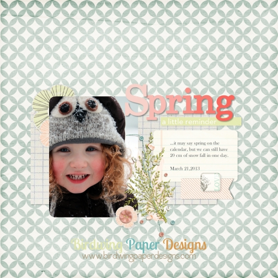 "Elements from ""Billet Doux"" by One Little Bird Designs and ""Petit Leon"" by Micheline Martin."