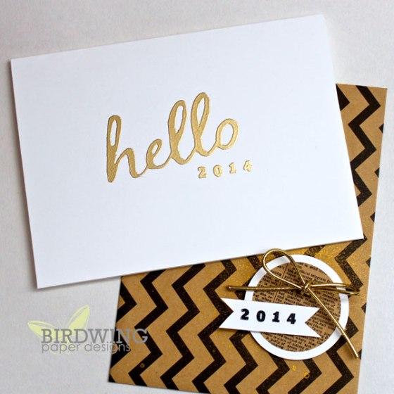 Hello 2014 Holiday Card - Birdwing Paper Designs