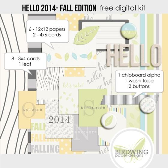 Fall Edition Hello 2014 Digital Kit from Birdwing Paper Designs