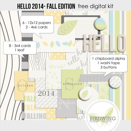 Fall Edition Hello 2014 Digital Kit from Birdwing Paper Designs