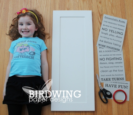 Downstairs Rules Sign - Birdwing Paper Designs