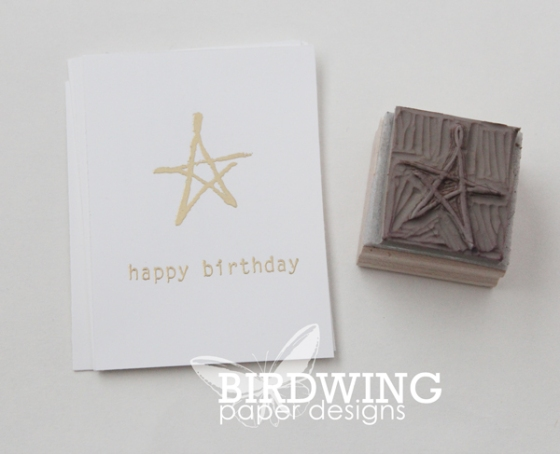 Hand Carved Stamp and A Birthday Card - Birdwing Paper Designs