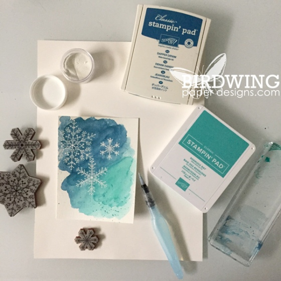 Snowflake Emboss With a Watercolour Background - Birdwing Paper Designs