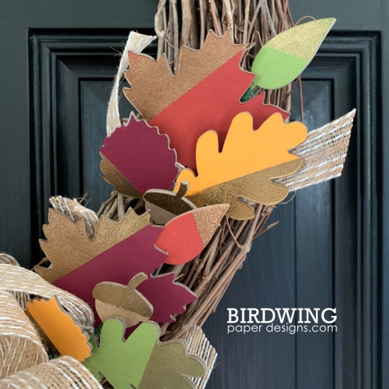 Fall Wreath with DIY Leaves - Birdwing Paper Designs